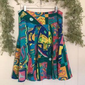 RALPH LAUREN 100% Silk Artsy Geometric Skirt sz 12